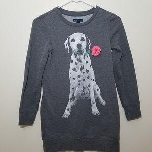 Gap Girls Sweatshirt Size 10 Grey Dalmation Flower
